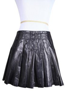 Alice + Olivia Leather Pleated Mini Skirt black