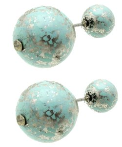 Other Natural Stone Finish Double Sided Earrings - Mint Green