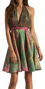 Alice + Olivia Silk Chiffon Halter V-neck Dress