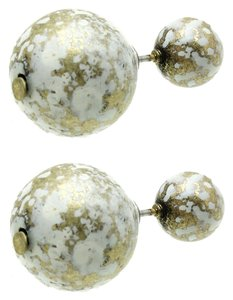 Natural Stone Finish Double Sided Earrings - Ivory
