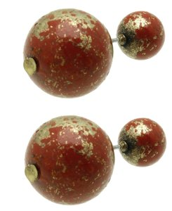 Other Natural Stone Finish Double Sided Earrings - Red