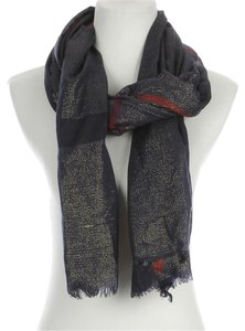 Metallic Yarn Fringe Scarf - Navy