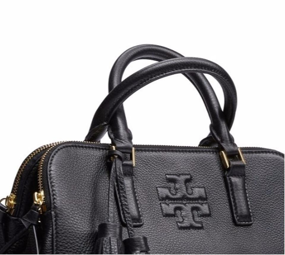 ab3616380b31 Tory Burch Thea Small Rounded Double-zip Black Satchel - Tradesy