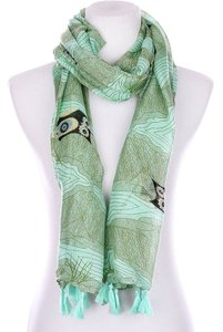 Other Owl Print Scarf - Mint Green
