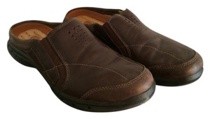 Clarks Dark Brown Mules