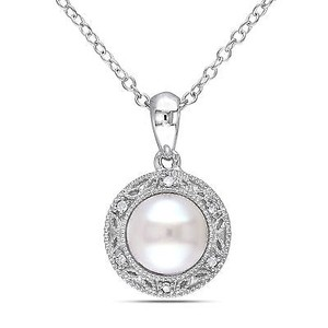 Amour Sterling Silver Freshwater White Pearl And Diamond Pendant Necklace 7-7.5 18