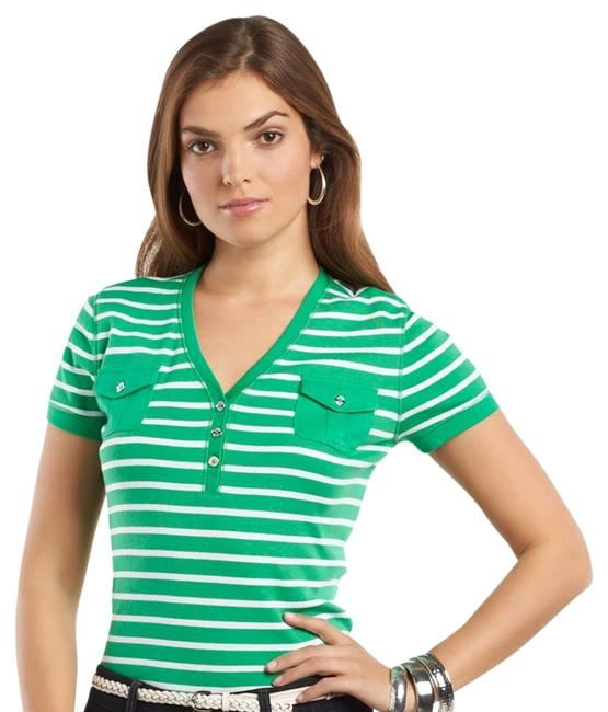Preload https://item3.tradesy.com/images/chaps-green-striped-button-henley-xs-tee-shirt-size-2-xs-1010042-0-0.jpg?width=400&height=650