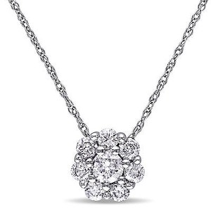 Amour 10k White Gold 12 Ct Tdw Diamond Cluster Pendant Necklace G-h I2-i3 17