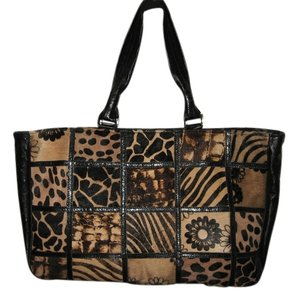 Cecconi Leather Hair Calf Leopard Tote in black, brown, tan animal print