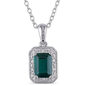 Amour Amour Sterling Silver Created Emerald And Diamond Accent Pendant Necklace 18