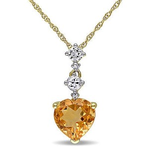 Amour 10k Yellow Gold Sapphire Citrine And Diamond Accent Heart Pendant Necklace 17