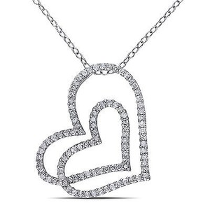 Amour Sterling Silver 12 Ct Tdw Diamond Heart Pendant Necklace H-i I2-i3 18