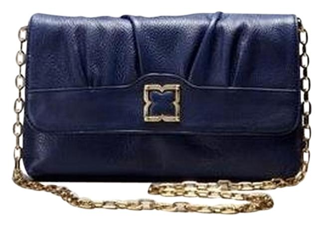 Item - Chain-link Navy Leather Cross Body Bag
