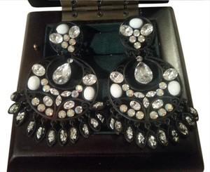 Marciano Black Tone Crystal Chandelier Earrings