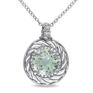 Amour Sterling Silver Gemstone And 16 Ct Tdw Diamond Pendant Necklace H-i I2-i3 18