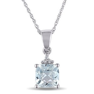 Amour Amour 10k White Gold Aquamarine And Diamond Pendant Necklace 17