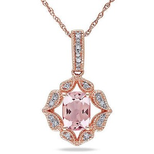 Amour 10k Rose Gold Cushion-cut Morganite And Diamond Accent Pendant Necklace 17