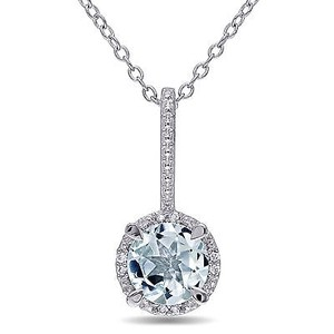 Amour Amour Sterling Silver Aquamarine And Diamond Pendant Necklace 18