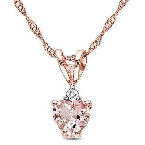 Amour 10k Rose Gold Heart-cut Morganite And Diamond Accent Pendant Necklace 17