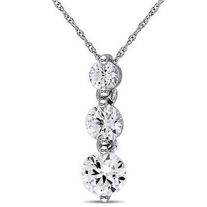 Amour Amour 10k White Gold Created White Sapphire 3-stone Pendant Necklace 17