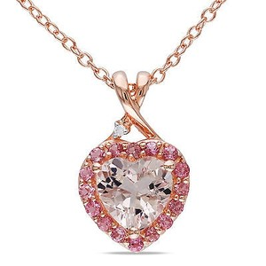 Amour Pink Sterling Silver Morganite Tourmaline Diamond Heart Pendant Necklace 18