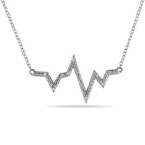 Amour Amour Sterling Silver Diamond Accent Heartbeat Pendant Necklace 18