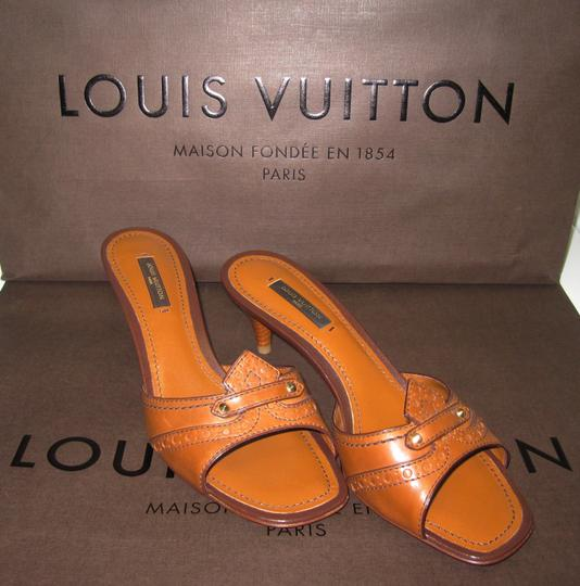Louis Vuitton Leather Heel Embossed Detailed Mule Monogram Gucci Cl Dior Prada Chanel Todds Christian Louboutin Tory Burch Luggage brown Sandals
