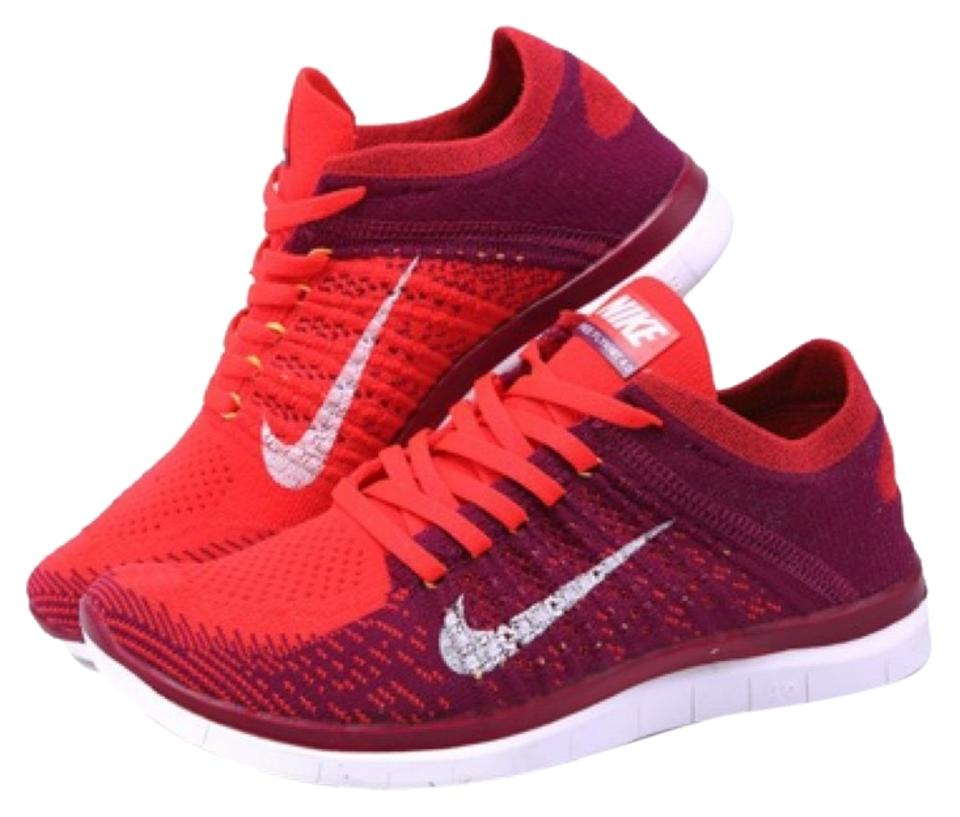 Nike Orange/White Bright Crimson/ Rasberry Red/Laser Orange/White Nike Flyknit 4.0 Sneakers 038071