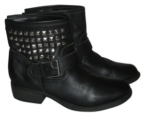 Steve Madden Leather Biker Low Heel Black Boots