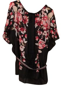 White House | Black Market Top Black, pink floral