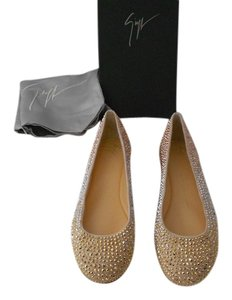 Giuseppe Zanotti Stunning Luxurious Gold/Silver Studs Made In Italy Cipria Flats