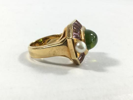 Chanel Chanel 18k Gold Peridot, Pearl and Amethyst Baroque Ring