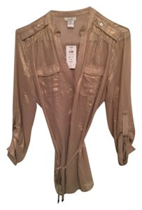 Cach'e Metallic Shimmer Gold Blouse Top Gold Shimmer