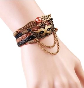 Other New Leather Infinity Charm Bracelet Drama Mask Wings Pearl Brown J1727 Summersale