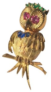 18KT Yellow Gold Owl Pin with Rubies, Emeralds and Sapphires