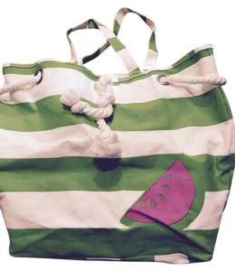 Barnes & Noble Books Beach Weekend Canvas Tote in Green Stripe with Watermelon
