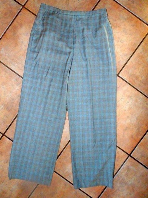 F BY FACONNABLE P641 8 Striped Straight Pants BLUE BLACK GRAY PLAID
