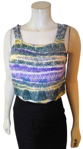 Angie Size Small Sleeveless Top green, purple