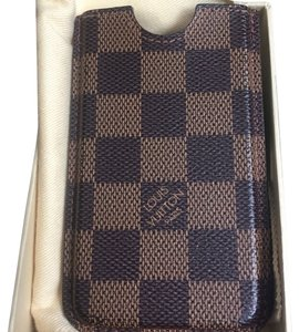 Louis Vuitton Authentic LOUIS VUITTON iPhone 5/5s case / sleeve Damier Canvas Leather Brown France 08B525