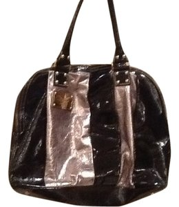 Guia's Gold Tone Monogram Plate O. Front Interior Satchel in Black