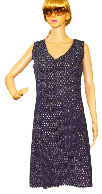 Item - Navy / White / Gray Above Knee Night Out Dress Size 6 (S)