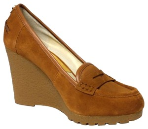 Michael Kors Rory Loafer Wedge Pumps Walnut Platforms