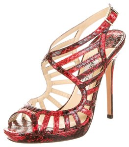Jimmy Choo Brown Leather Snakeskin Strappy Platform Animal Print Animal Print Textured Embellished Peep Toe Ankle Ankle Strap 38 Red Sandals
