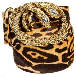 Roberto Cavalli Roberto Cavalli Brown Animal Print Pony Hair Double Snake Buckle Belt (Size 80)