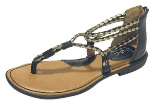 B.O.C. Blue Leather Comfortable Black Sandals