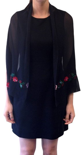 Other BLACK WITH MULTI-COLOR FLORAL SCARF