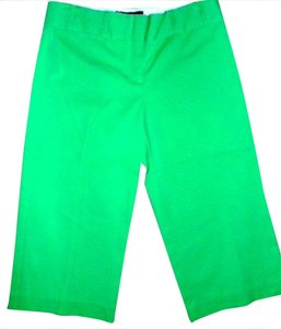 BCBGMAXAZRIA P646 Dress Pants Size 6 Lime Straight Leg Low Rise Capris GREEN