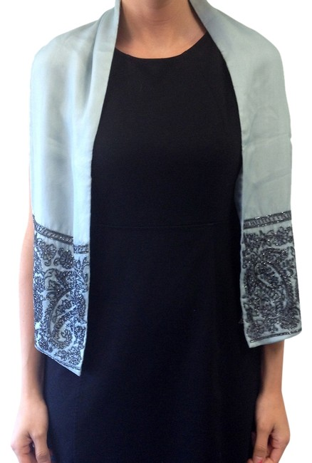 Item - Pewter Blue & Charcoal Grey Beaded Scarf/Wrap