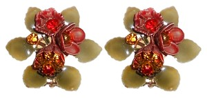 Other Vintage Rhinestone Flower Clip On Earrings 1