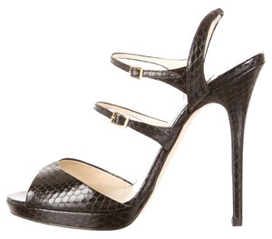 Jimmy Choo Leather Snakeskin Strappy Black Sandals